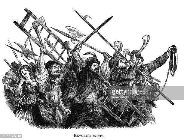 engraving illustration of a group of a french revolutionists - execution stock pictures, royalty-free photos & images