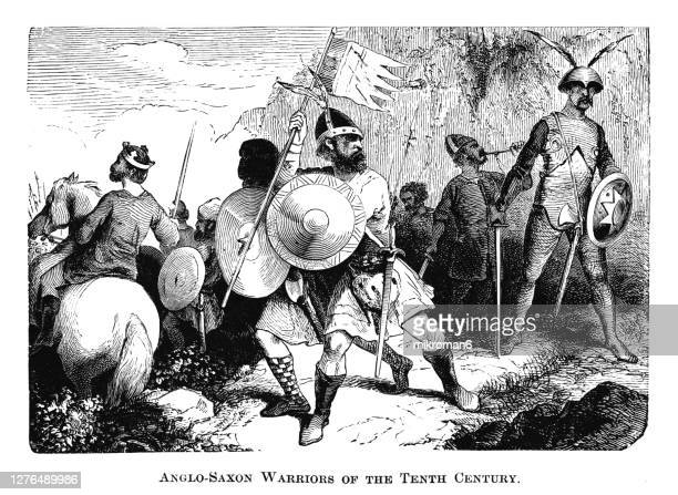 engraving illustration of anglo-saxon warriors of the tenth century - medieval stock pictures, royalty-free photos & images