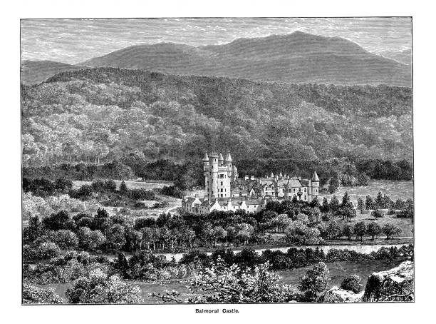 Engraving illustration of Balmoral Castle, Scotland, from the River Dee