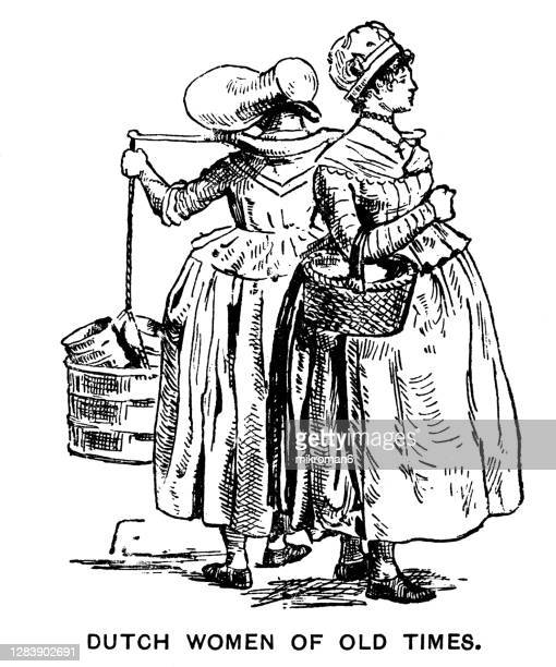 engraving illustration of dutch women of old times - womenswear stock pictures, royalty-free photos & images