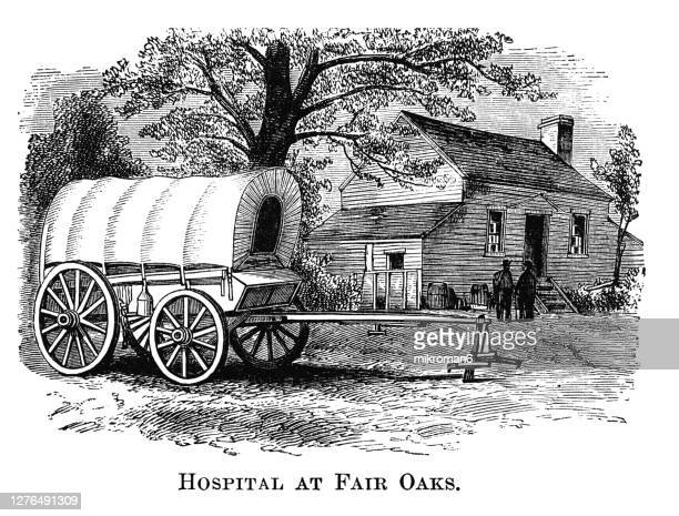 engraving illustration of fair oaks, virginia. house on fair oaks battlefield used as a hospital by hooker's division. - protohistory_of_west_virginia stock pictures, royalty-free photos & images