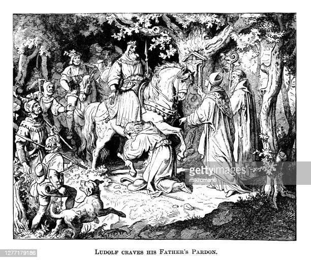 engraving illustration of liudolf (ludolf) duke of swabia craves his father's pardon - duke stockfoto's en -beelden