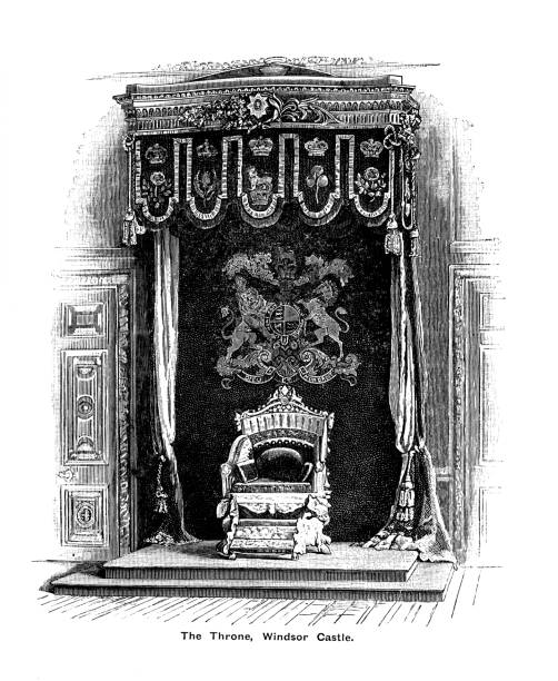 Engraving illustration of Queen Victoria's Ivory Throne, Windsor Castle