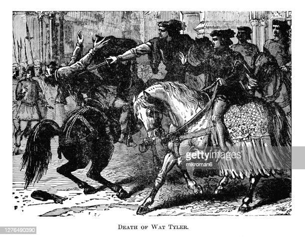 """engraving illustration of the death of walter """"wat"""" tyler, the leader of the peasants' revolt of 1381 - insurrection stock pictures, royalty-free photos & images"""