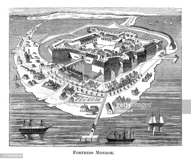 engraving illustration of virginia's fortress monroe - civil war stock pictures, royalty-free photos & images