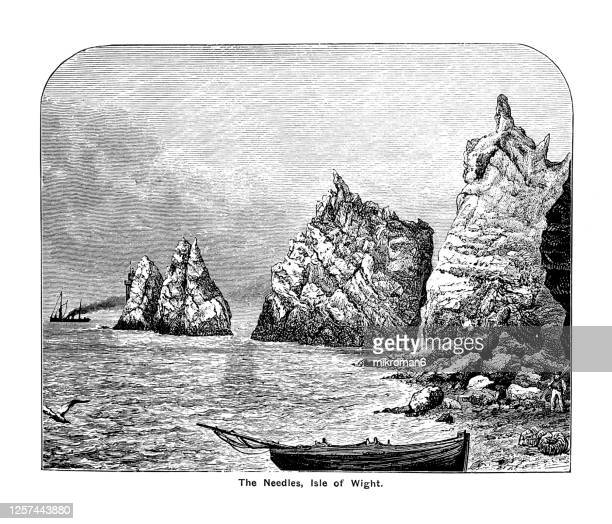 engraving illustration on the needles on the isle of wight favourite place of queen victoria to visit - queen victoria stock pictures, royalty-free photos & images
