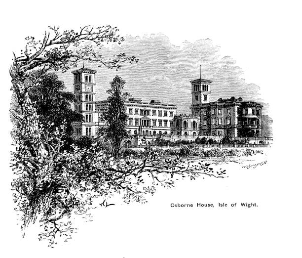 Engraving illustration on the Osborne House, the Isle of Wight favourite place of Queen Victoria to visit