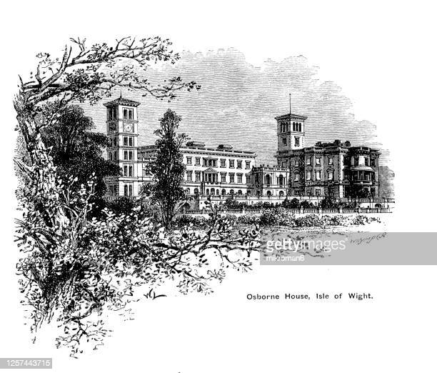 engraving illustration on the osborne house, the isle of wight favourite place of queen victoria to visit - queen victoria stock pictures, royalty-free photos & images