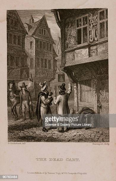 Engraving made c 1865 by Davenport after Cruikshank showing the �Dead Cart� collecting bodies of plague victims The door on the right is marked �Lord...