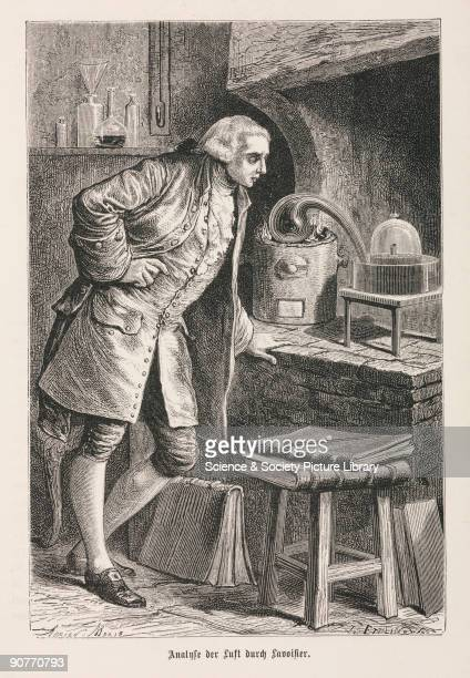 Engraving made c 1875 of French chemist Lavoisier who is considered to be the founder of the modern science of chemistry researching into gunpowder...