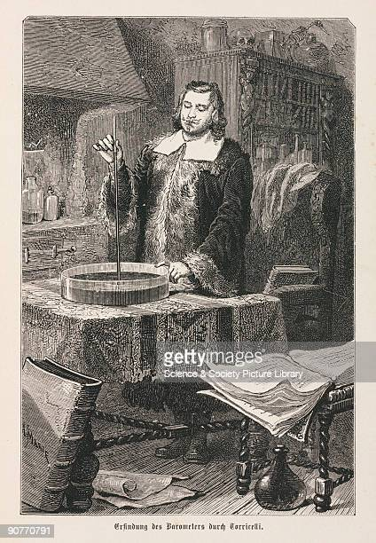 Engraving made c 1875 of Italian physicist Evangelista Torricelli In 1643 Torricelli experimented with vacuums to demonstrate that atmospheric...