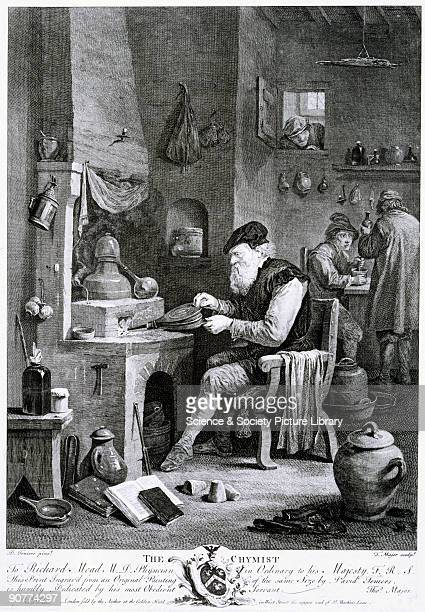 Engraving made in 1750 by Thomas Major after an earlier oil painting by David Teniers the Younger The chemist operates a set of bellows at a brick...