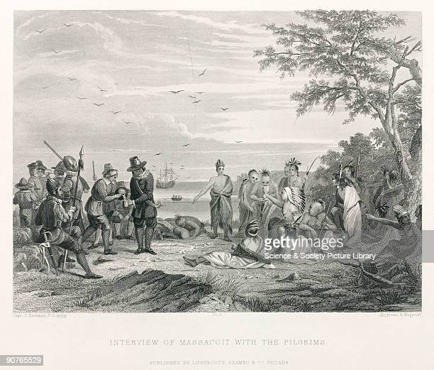 Engraving made in 1847 by C E Wagstaff and J Andrews after Captain Seth Eastman US Army of Quaker pilgrims meeting Massasoit chief of the Wampanoag...