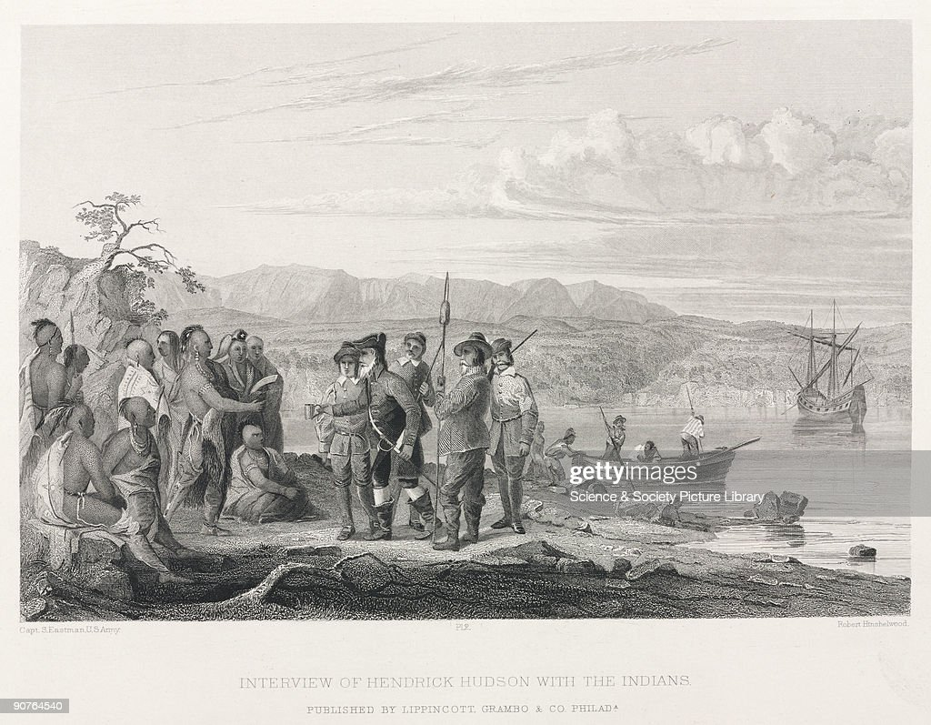 �Interview of Hendrick Hudson with the Indians�, North America, 17th century. : News Photo