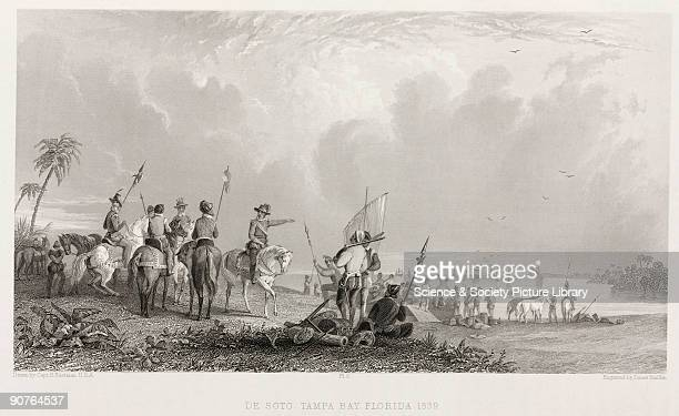 Engraving made in 1853 by James Smillie after Captain Seth Eastman US Army showing the arrival of Hernando de Soto and his Spanish conquistadors...