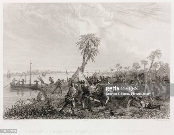 Engraving made in 1853 by Robert Hinshelwood after Captain Seth Eastman US Army showing the illfated attempt by the Spaniards to found the first...