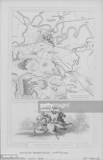 Engraving map depicting the Battle of Bannockburn fought between Robert the Bruce and Humphrey de Bohun during the Scottish War of Independence...