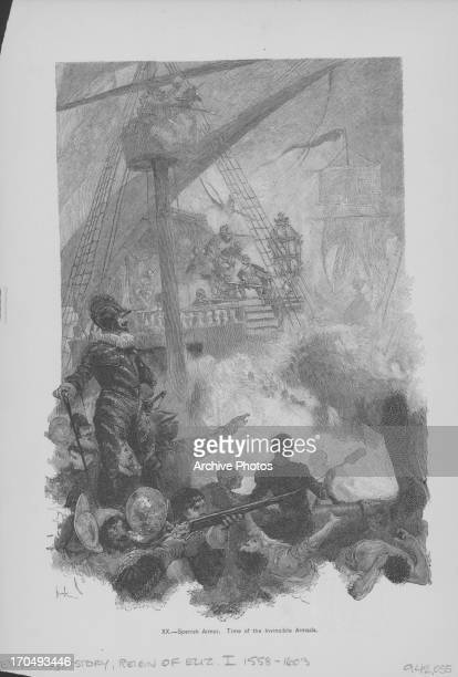 Engraving of a battle scene at the undeclared AngloSpanishWar the invincible Spanish Armada led a campaign against Britain and Elizabeth I circa...