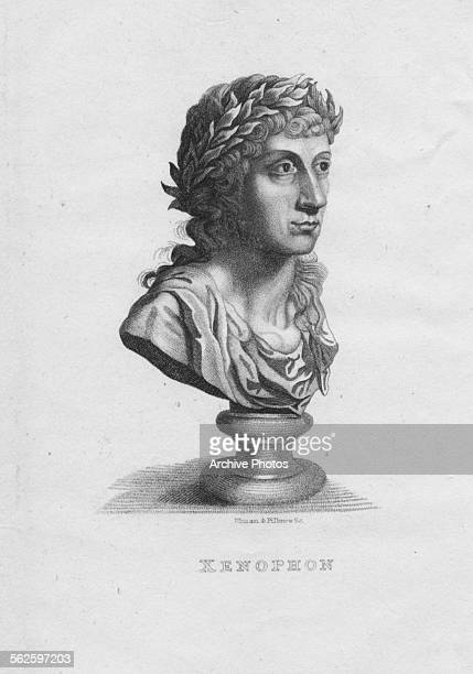 Engraving of a bust in the likeness of Greek historian and philosopher Xenophon circa 400 BC