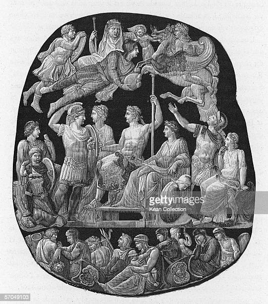 Engraving of a cameo depicting the 23 year reign of Roman Emperor Tiberius , which shows himself and the imperial family as Gods on Mount Olympus,...