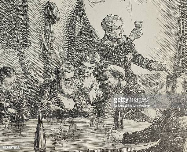 Engraving of a Champagne Supper at Epernay Dated 1870