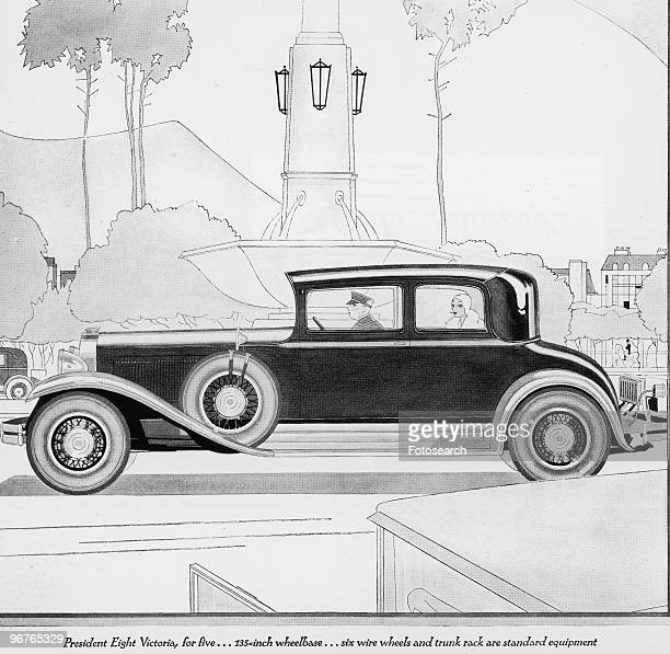 A Engraving of a Chauffeur Driven Automobile with Text 'President Eight Victoria for Five�135 Inch Wheelbase�Six Wire Wheels and Trunk Rack are...