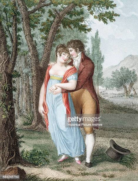 Engraving of a couple strolling amongst woods published in Paris during the early 19th century