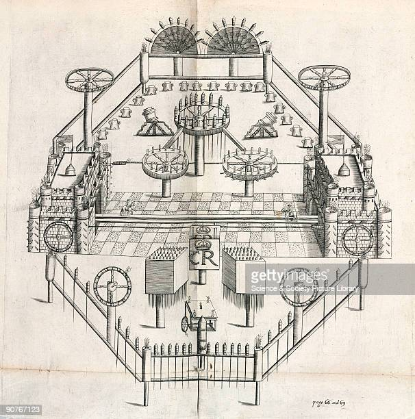 Engraving of a firework display with two large wooden castles and numerous devices bristling with fireworks The letters �CR� probably refer to King...