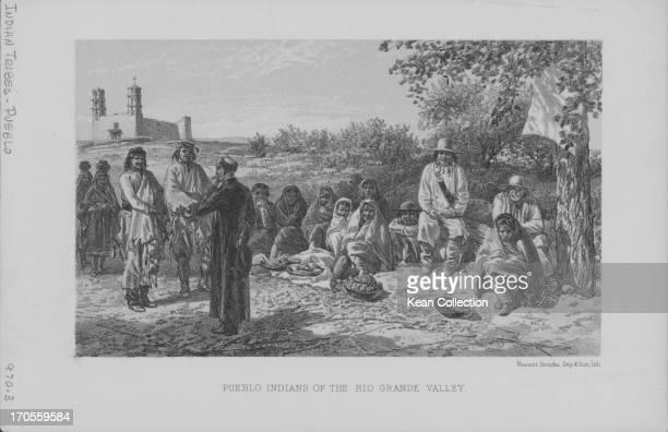 Engraving of a gathering of Pueblo Indians selling their wares Rio Grande Valley Texas