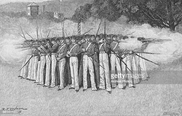 Engraving of a group of cadets holding rifles at the military training academy in West Point Orange County New York circa 1880