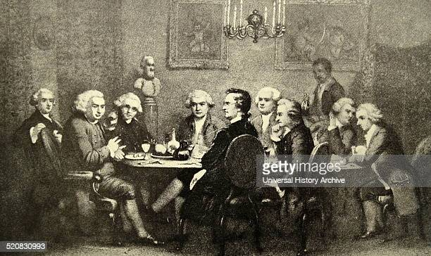 Engraving of a Litterary Party at Sir Joshua Reynold's Left to Right James Boswell Samuel Johnson Joshua Reynolds David Garrick Edmund Burke Pasquale...