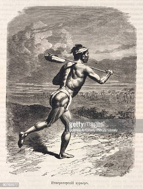 Engraving of a man carrying a bundle on a pole from 'Zhivopisnaia Iaponiia' a Russian translation of 'Le Japon illustree' by Swiss diplomat Aime...