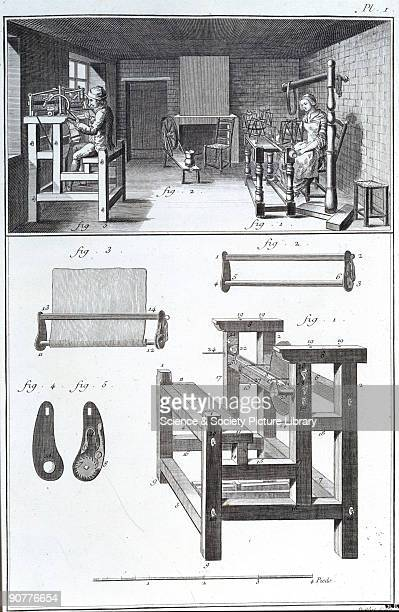Engraving of a man using a knitting machine and a woman winding silk Below are illustrations of the equipment From volume 8 of 'Encyclopedie ou...