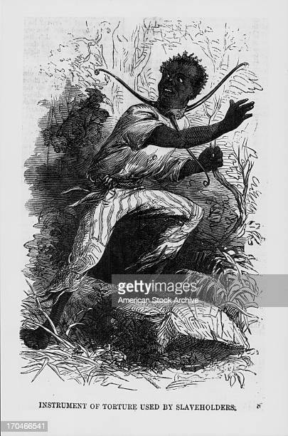 Engraving of a negro slave wearing an instrument of torture around his neck, placed on him by a slave-holder, drawn by Sergeant Charles O. Dewey, 4th...
