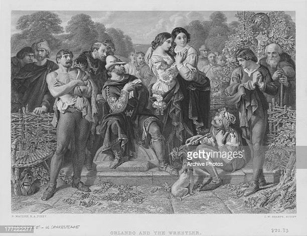 Engraving of a scenes from the plays of William Shakespeare Orlando from 'As You Like It' 1623