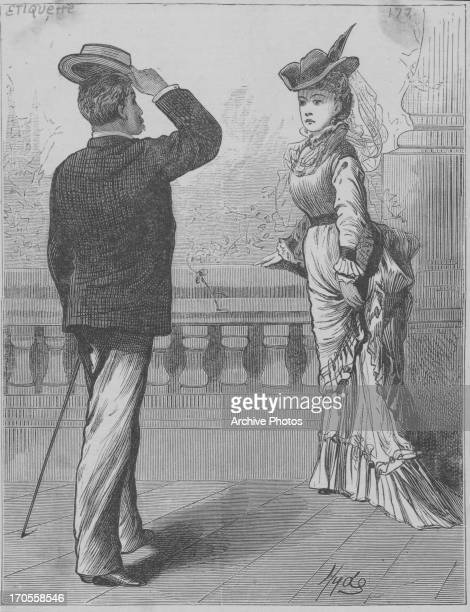 Engraving of a Victorian gentleman doffing his hat to a welldressed woman in a display of etiquette circa 18371901