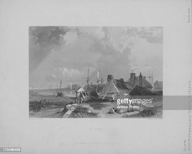 Engraving of a view of the coastal fishing village of Blyth Northumberland UK