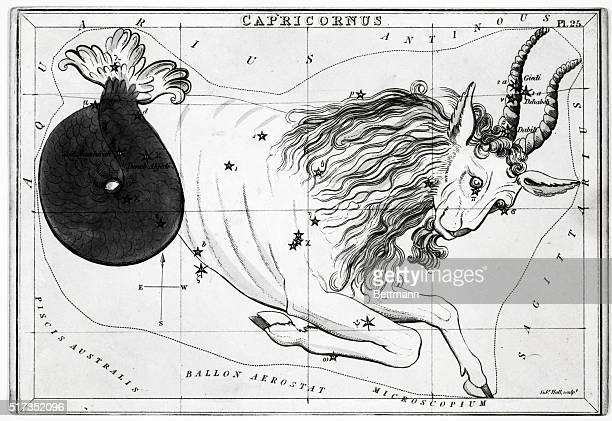Engraving of A View of the Heavens showing Capricorn as half fish and half goat Undated