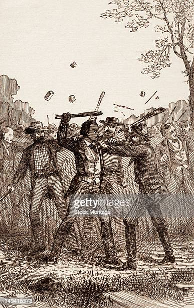 Engraving of American abolitionist and author Frederick Douglass as he is attacked at one the American Anti-Slavery Society's Hundred Conventions...