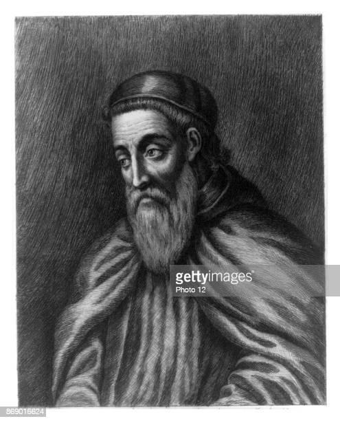 Engraving of Amerigo Vespucci Italian explorer financier navigator and cartographer Dated 16th Century