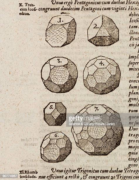 Engraving of �Archimedian Solids' including a truncated icosahedron from 'Harmonices mundi' by German astronomer Johannes Kepler published in Linz...
