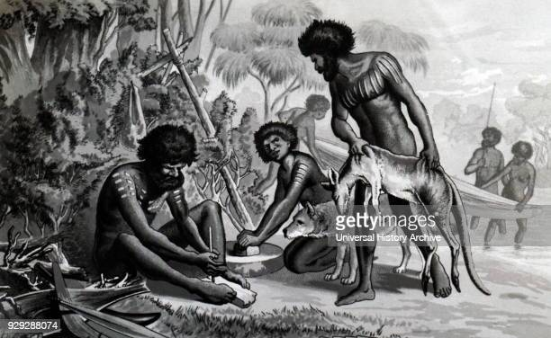 Engraving of Australian aborigines preparing a meal beside a river The man on the left is making fire by rubbing a softwood core with a hardwood...