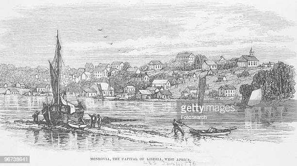 Engraving of boats on river in Monrovia Liberia circa 1850