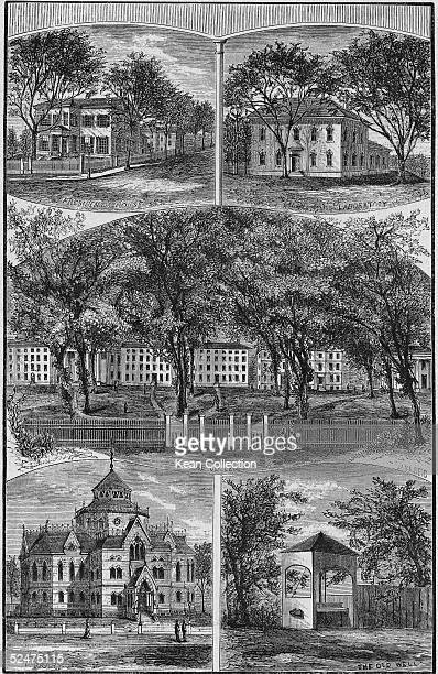 Engraving of buildings on the Brown University campus, Providence, Rhode Island, 1880s. Clockwise from top left: the president's house, the...