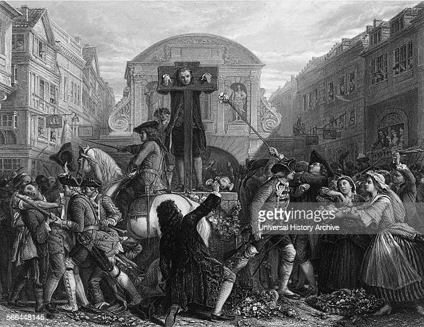 Engraving of Daniel Defoe in the Pillory, born Daniel Foe, an English trader, writer, journalist, pamphleteer, and spy. By James Charles Armytage....