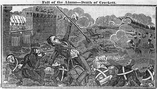 Engraving of Davy Crockett dying in battle at the Alamo