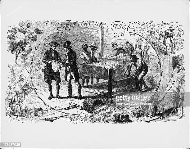 Engraving of Eli Whitney's Cotton Gin depicting African American slaves picking the cotton and using the gin whilst being inspected by white land...