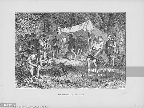 Engraving of English settlers setting up camp at Jamestown the first settlement of the Virginia Colony USA circa 1607