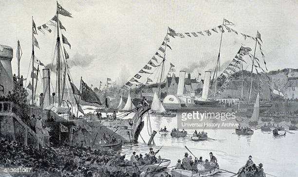 Engraving of Field Marshal Frederick Sleigh Roberts returning on the Alberta as his reception at Cowes Isle of Wight Dated 1901