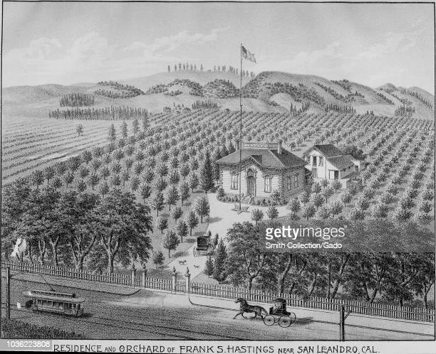 Engraving of Frank S Hastings orchard and residence near San Leandro Alameda County California from the book Illustrated album of Alameda County...